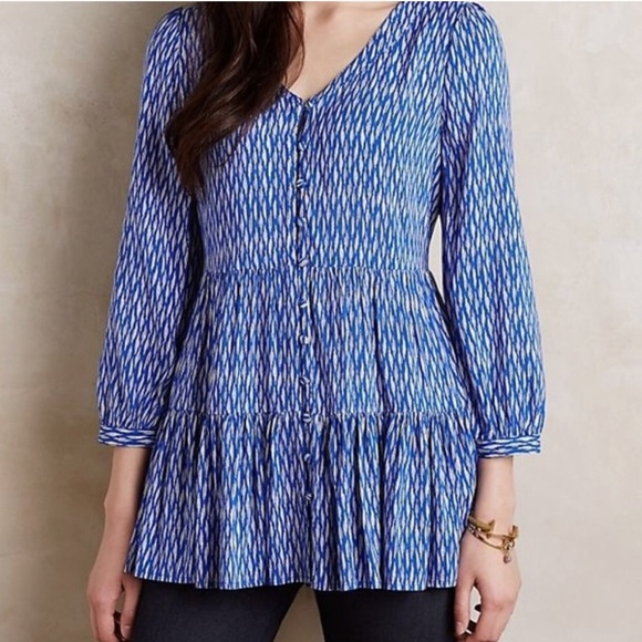 Anthropologie Tops - Anthropologie Maeve Blue & White Lila Tiered Tunic